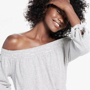 NWT Lucky Brand Stripe Smock Off Shoulder Top XS